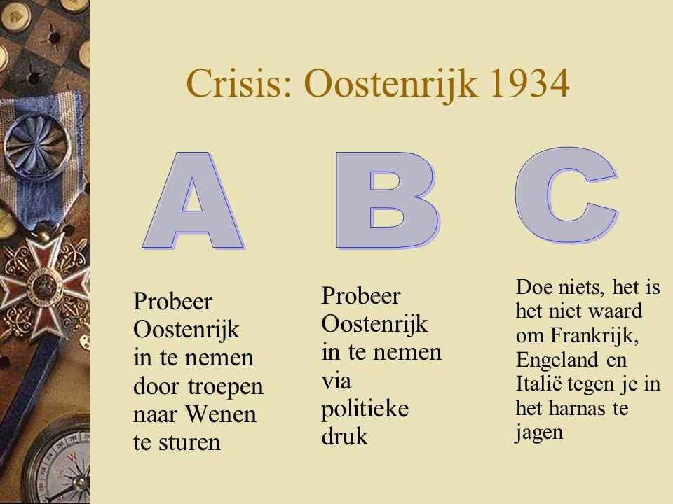 Crisis: Oostenrijk 1934 Probeer Oostenrijk in te nemen door troepen naar Wenen te sturen Doe niets, het is het niet waard om Frankrijk, Engeland en It