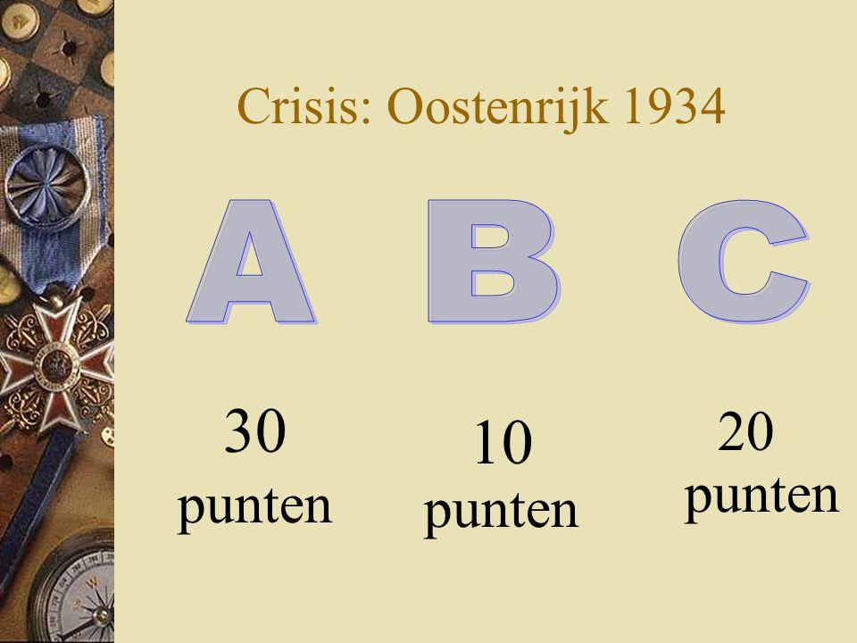 Crisis: Oostenrijk 1934 30 punten 20 punten 10 punten