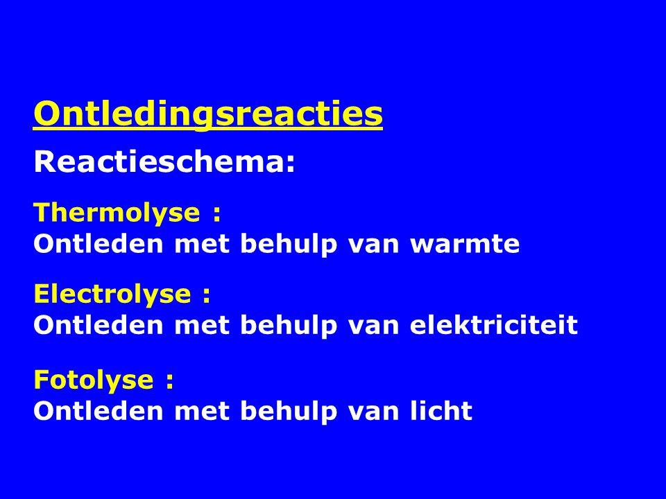 Ontledingsreacties Thermolyse : Ontleden met behulp van warmte Reactieschema: Electrolyse : Ontleden met behulp van elektriciteit Fotolyse : Ontleden