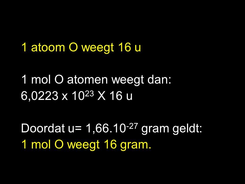 Molaire Massa (Molmassa) De massa van 1 mol stof in gram Symbool is MM.