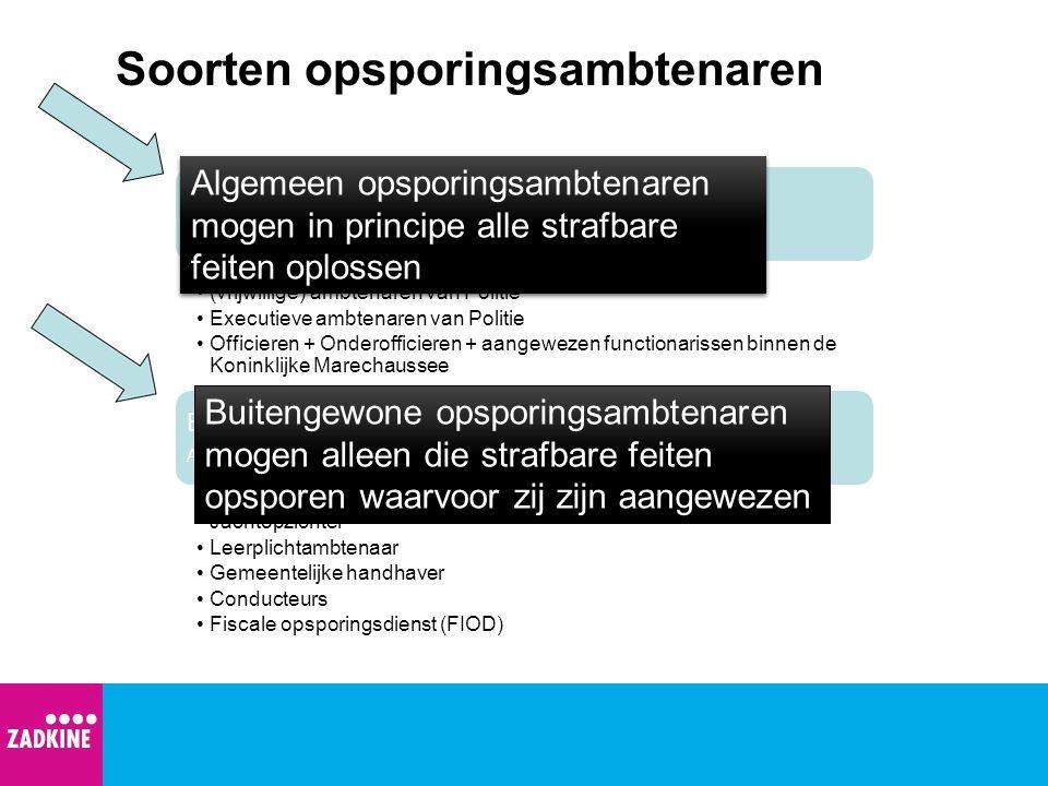 Soorten opsporingsambtenaren Algemene Opsporingsambtenaren Art. 141 Wetboek van Strafvordering Officier van Justitie (vrijwillige) ambtenaren van Poli