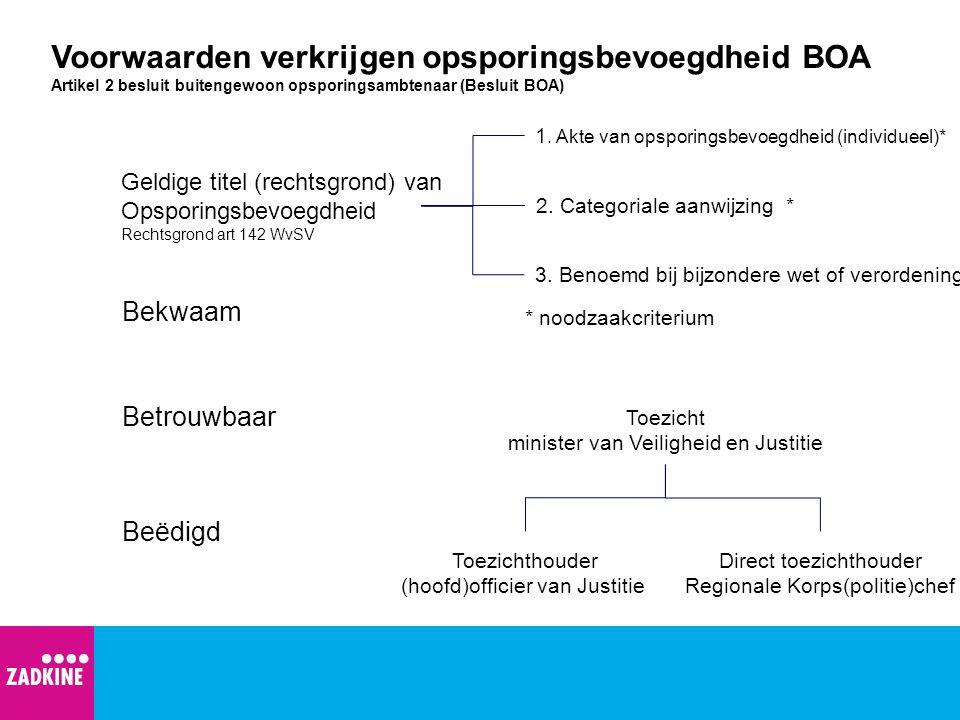 Voorwaarden verkrijgen opsporingsbevoegdheid BOA Artikel 2 besluit buitengewoon opsporingsambtenaar (Besluit BOA) 1. Akte van opsporingsbevoegdheid (i