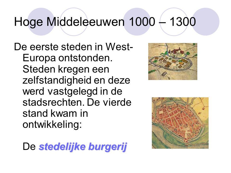 Hoge Middeleeuwen 1000 – 1300 stedelijke burgerij De eerste steden in West- Europa ontstonden.