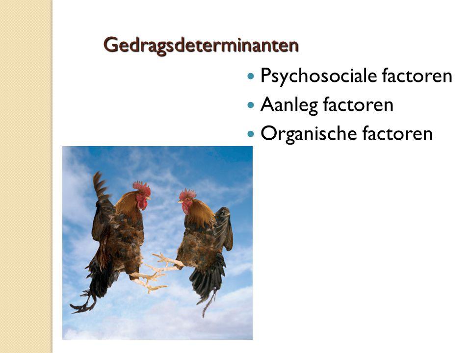 Gedragsdeterminanten Psychosociale factoren Aanleg factoren Organische factoren