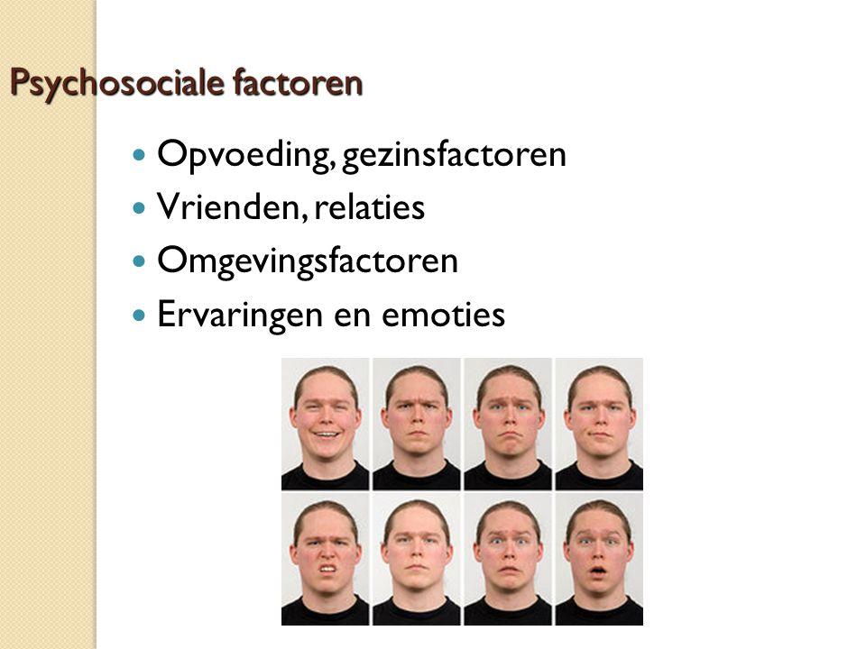 Psychosociale factoren Opvoeding, gezinsfactoren Vrienden, relaties Omgevingsfactoren Ervaringen en emoties