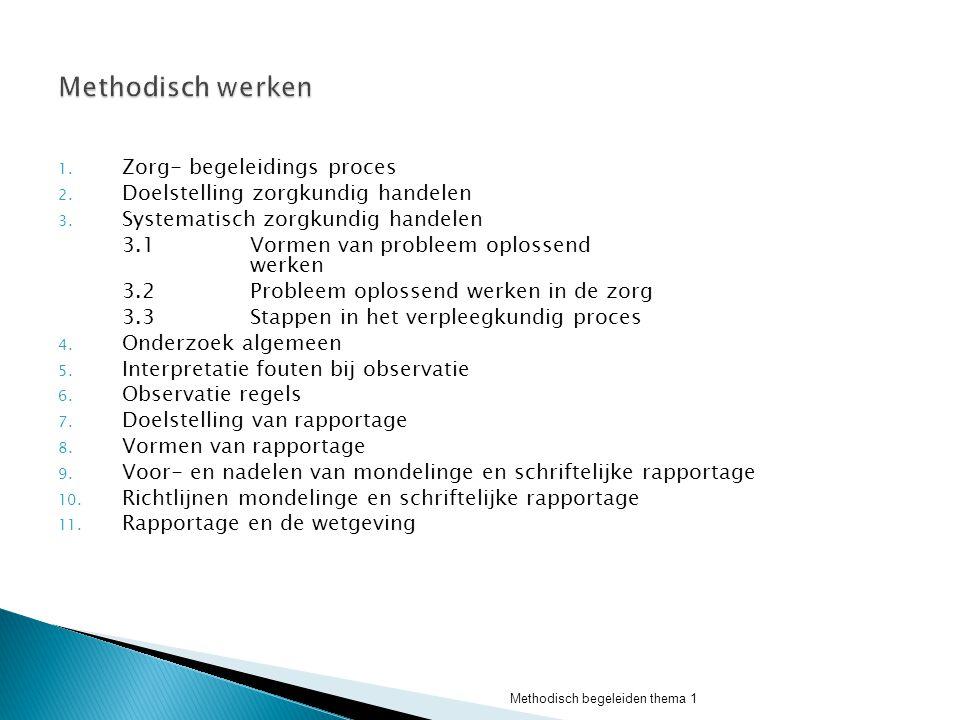  Definitie W.H.O (1976) Het verpleegkundig proces is een wetenschappelijke manier om samen met de cliënt zijn zorgproblemen te verzamelen, medische en verpleegkundige taken te onderscheiden om deze problemen te voorkomen, op te lossen of te verminderen  Definitie Ann Marriner Het verpleegkundig proces is de toepassing van wetenschappelijke probleem oplossende benaderingen op de verpleegkundige zorg.
