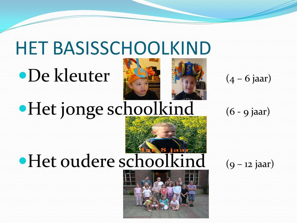 HET BASISSCHOOLKIND De kleuter (4 – 6 jaar) Het jonge schoolkind (6 - 9 jaar) Het oudere schoolkind (9 – 12 jaar)