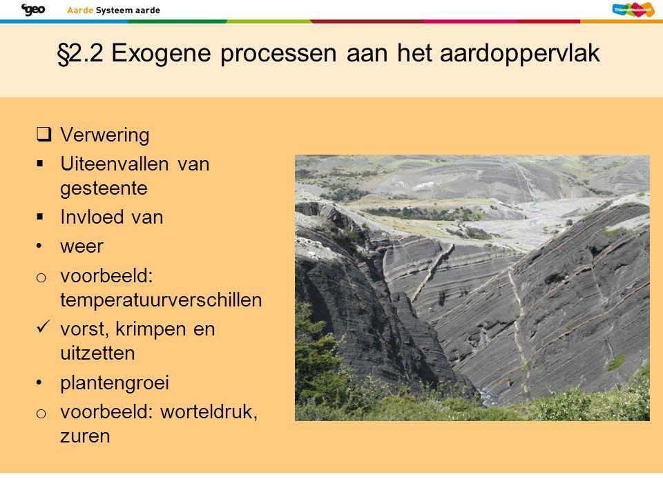 §2.2 Exogene processen aan het aardoppervlak  Verwering  Uiteenvallen van gesteente  Invloed van weer o voorbeeld: temperatuurverschillen vorst, kr