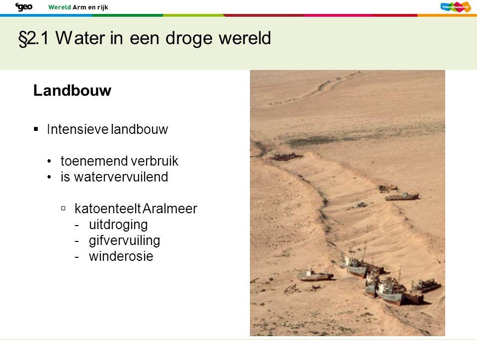 §2.1 Water in een droge wereld Landbouw  Intensieve landbouw toenemend verbruik is watervervuilend  katoenteelt Aralmeer -uitdroging -gifvervuiling -winderosie