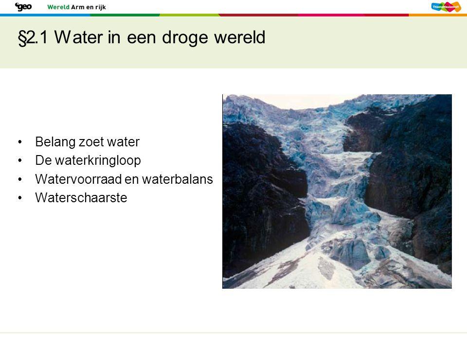 §2.1 Water in een droge wereld Voldoende schoon water in de rijke landen Waterzuivering en goed leidingnet In arme landen gebrek aan veilig water