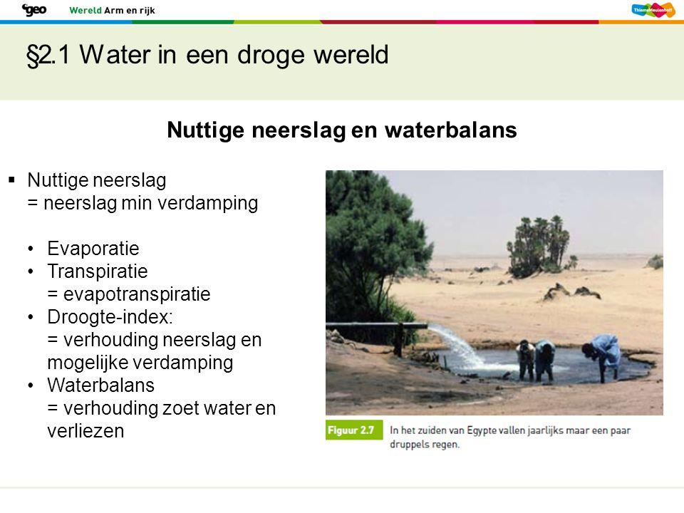 §2.1 Water in een droge wereld Waterproblemen  Plaatselijk toekomstig watertekort Absolute waterschaarste Economische waterschaarste Ongelijke verdeling