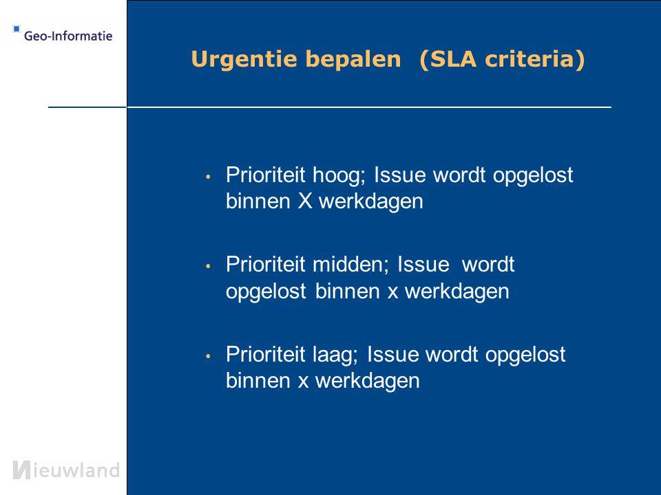 Urgentie bepalen (SLA criteria) Prioriteit hoog; Issue wordt opgelost binnen X werkdagen Prioriteit midden; Issue wordt opgelost binnen x werkdagen Pr