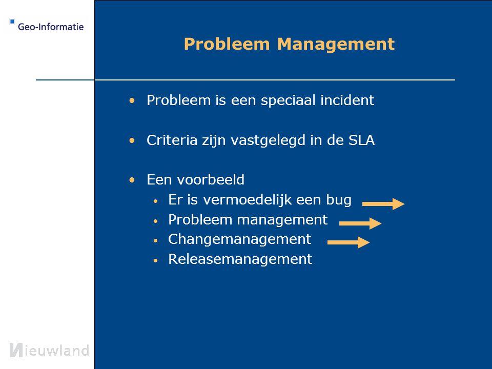 Probleem Management Probleem is een speciaal incident Criteria zijn vastgelegd in de SLA Een voorbeeld Er is vermoedelijk een bug Probleem management