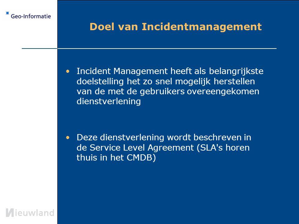 Doel van Incidentmanagement Incident Management heeft als belangrijkste doelstelling het zo snel mogelijk herstellen van de met de gebruikers overeeng