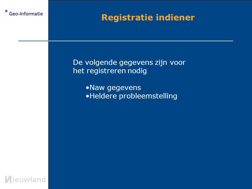 Registratie indiener De volgende gegevens zijn voor het registreren nodig Naw gegevens Heldere probleemstelling