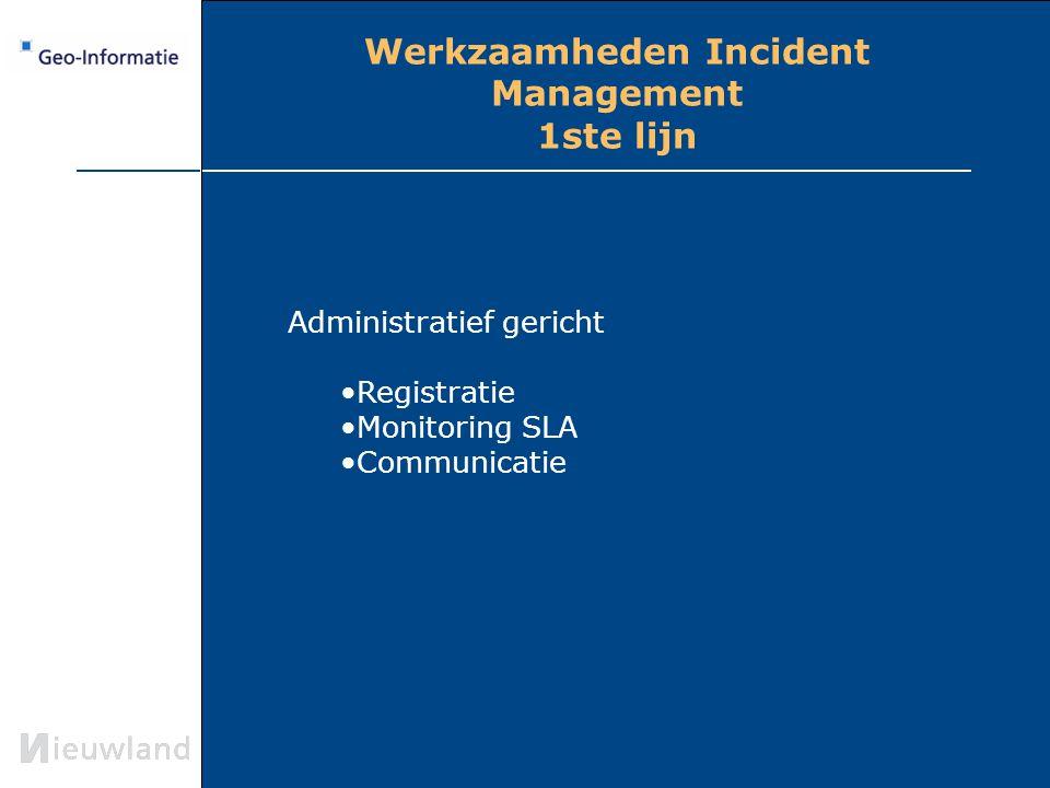 Werkzaamheden Incident Management 1ste lijn Administratief gericht Registratie Monitoring SLA Communicatie 