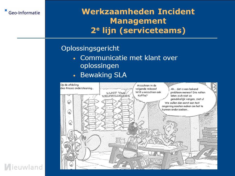 Werkzaamheden Incident Management 2 e lijn (serviceteams) Oplossingsgericht Communicatie met klant over oplossingen Bewaking SLA