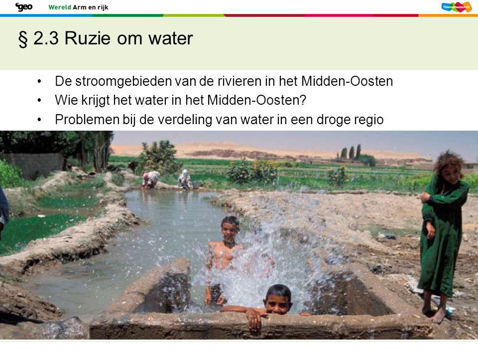 § 2.3 Ruzie om water De stroomgebieden van de rivieren in het Midden-Oosten Wie krijgt het water in het Midden-Oosten? Problemen bij de verdeling van