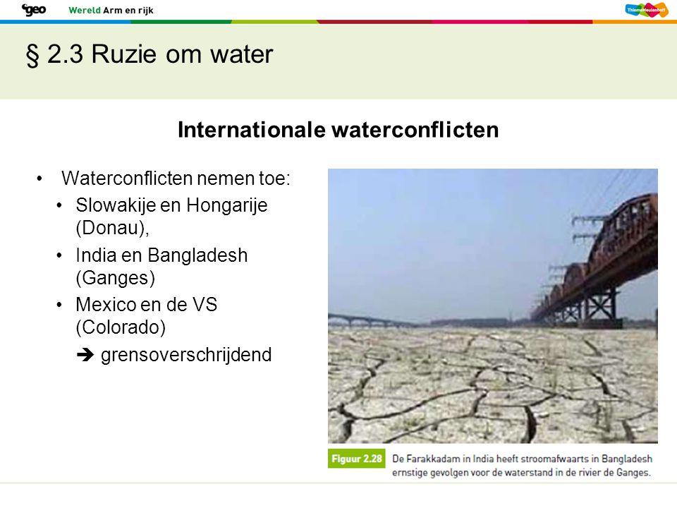 § 2.3 Ruzie om water Internationale waterconflicten Waterconflicten nemen toe: Slowakije en Hongarije (Donau), India en Bangladesh (Ganges) Mexico en
