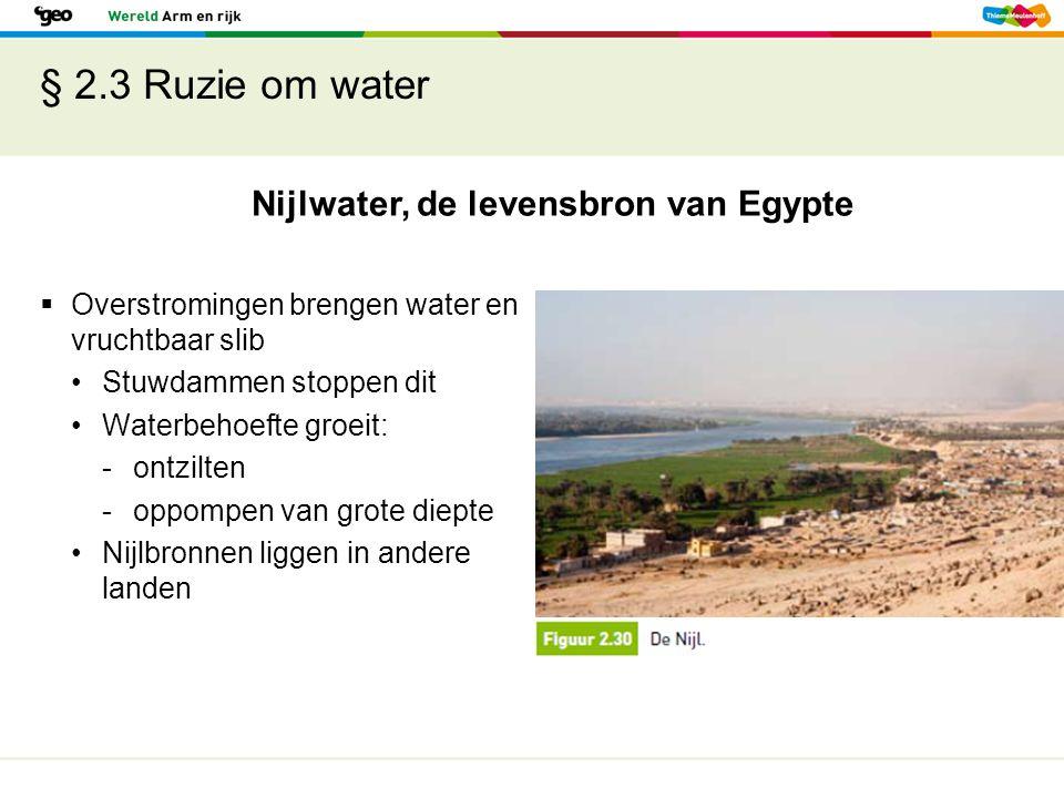 § 2.3 Ruzie om water Nijlwater, de levensbron van Egypte  Overstromingen brengen water en vruchtbaar slib Stuwdammen stoppen dit Waterbehoefte groeit