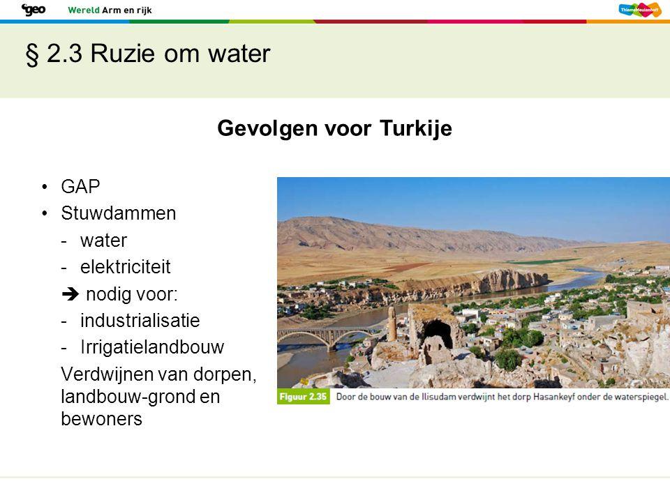 § 2.3 Ruzie om water Gevolgen voor Turkije GAP Stuwdammen -water -elektriciteit  nodig voor: -industrialisatie -Irrigatielandbouw Verdwijnen van dorp