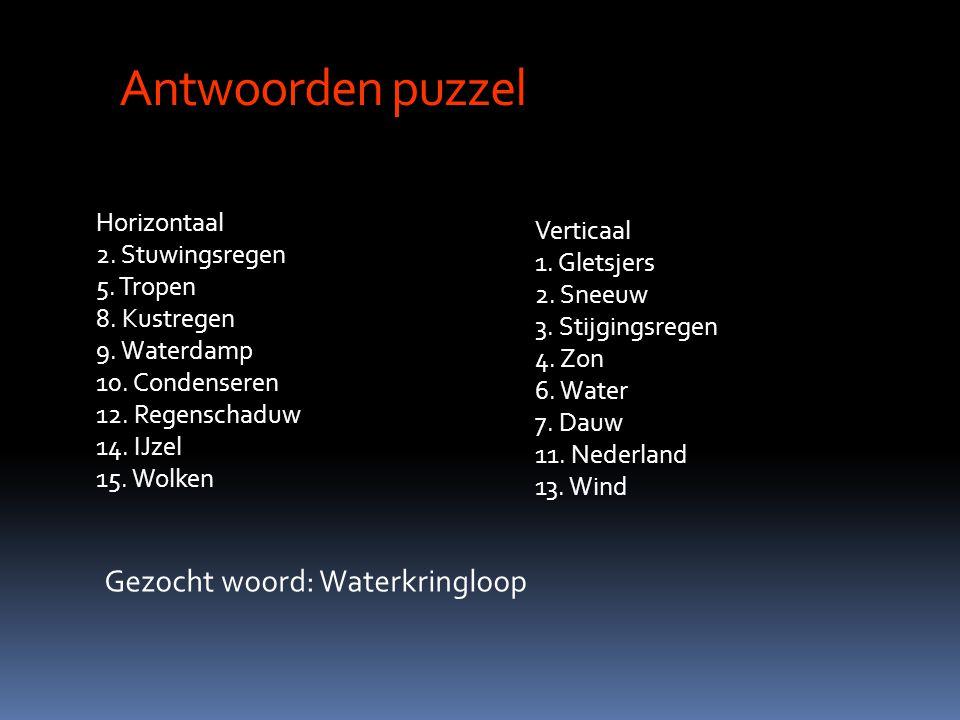 Antwoorden puzzel Horizontaal 2. Stuwingsregen 5. Tropen 8. Kustregen 9. Waterdamp 10. Condenseren 12. Regenschaduw 14. IJzel 15. Wolken Verticaal 1.
