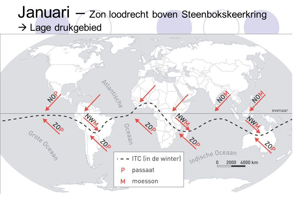 Januari – Zon loodrecht boven Steenbokskeerkring  Lage drukgebied