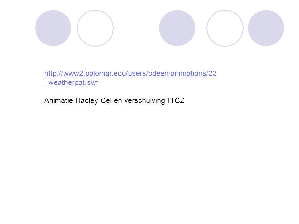 http://www2.palomar.edu/users/pdeen/animations/23 _weatherpat.swf Animatie Hadley Cel en verschuiving ITCZ