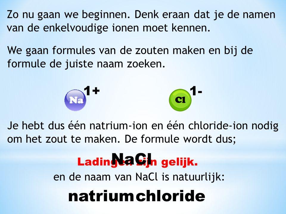 Zo nu gaan we beginnen. Denk eraan dat je de namen van de enkelvoudige ionen moet kennen. We gaan formules van de zouten maken en bij de formule de ju