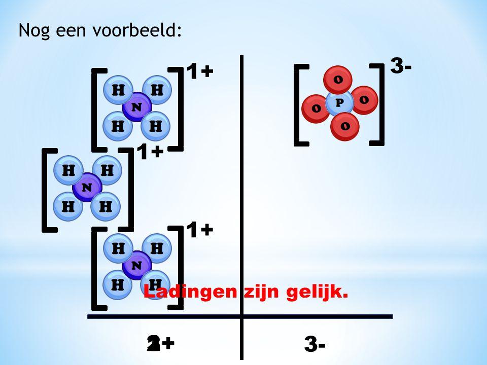 Nog een voorbeeld: 1+ 3- 1+ 3- 1+ 2+ 1+ 3+ Ladingen zijn gelijk.