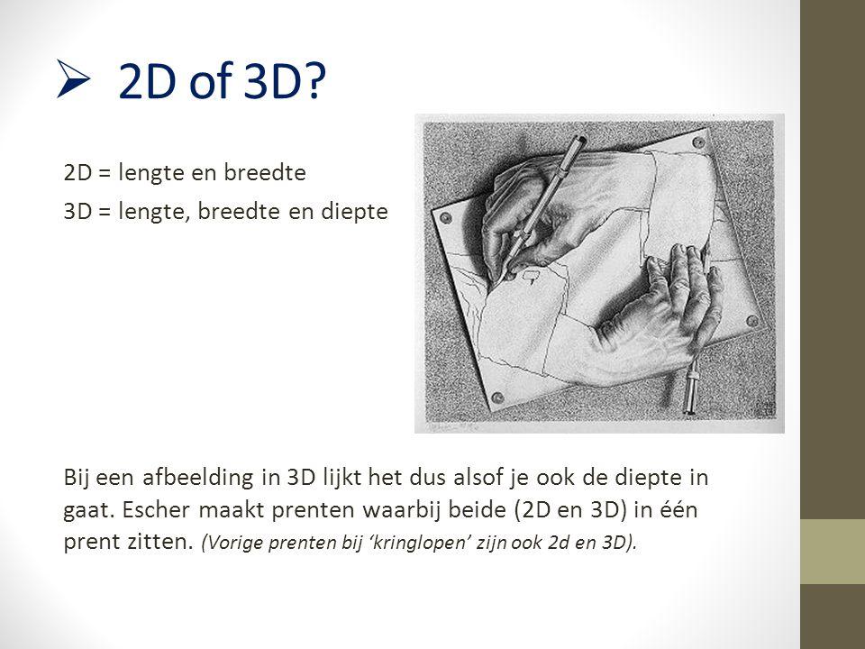  2D of 3D? 2D = lengte en breedte 3D = lengte, breedte en diepte Bij een afbeelding in 3D lijkt het dus alsof je ook de diepte in gaat. Escher maakt