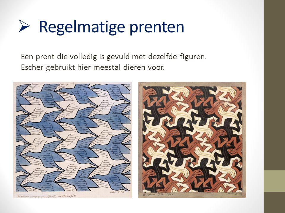  Regelmatige prenten Een prent die volledig is gevuld met dezelfde figuren. Escher gebruikt hier meestal dieren voor.