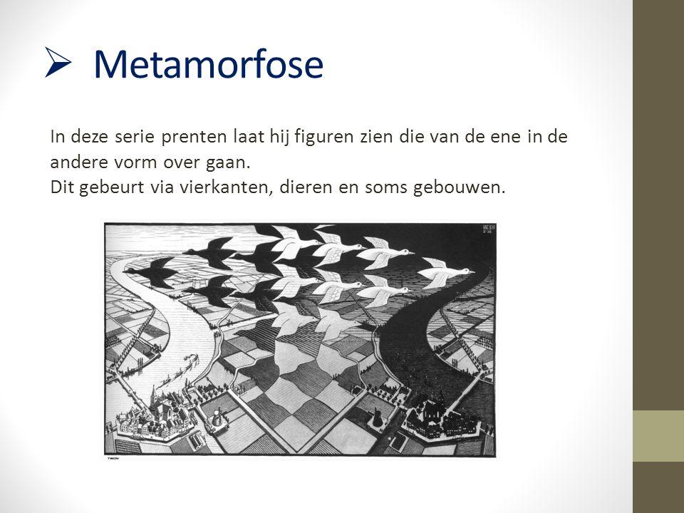  Metamorfose In deze serie prenten laat hij figuren zien die van de ene in de andere vorm over gaan. Dit gebeurt via vierkanten, dieren en soms gebou