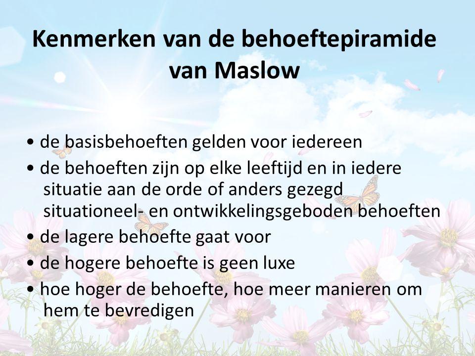Kenmerken van de behoeftepiramide van Maslow de basisbehoeften gelden voor iedereen de behoeften zijn op elke leeftijd en in iedere situatie aan de or
