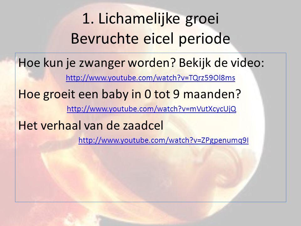 1. Lichamelijke groei Bevruchte eicel periode Hoe kun je zwanger worden? Bekijk de video: http://www.youtube.com/watch?v=TQrz59Ol8ms Hoe groeit een ba