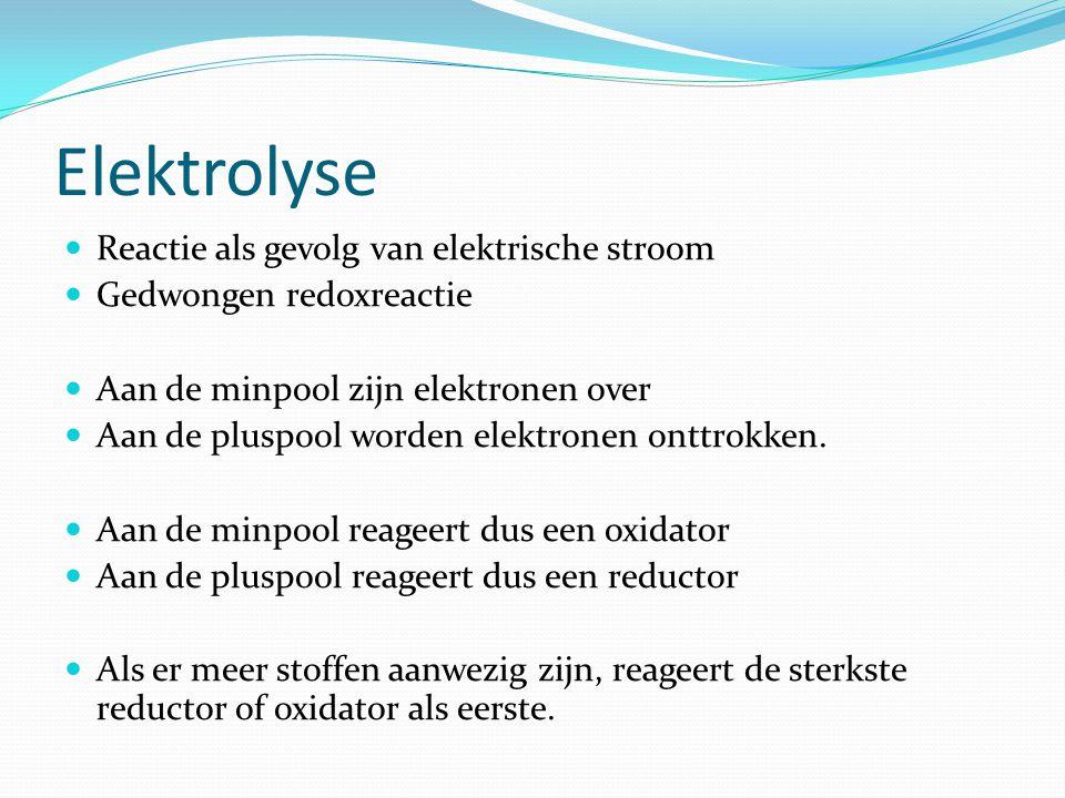 Elektrolyse Reactie als gevolg van elektrische stroom Gedwongen redoxreactie Aan de minpool zijn elektronen over Aan de pluspool worden elektronen onttrokken.