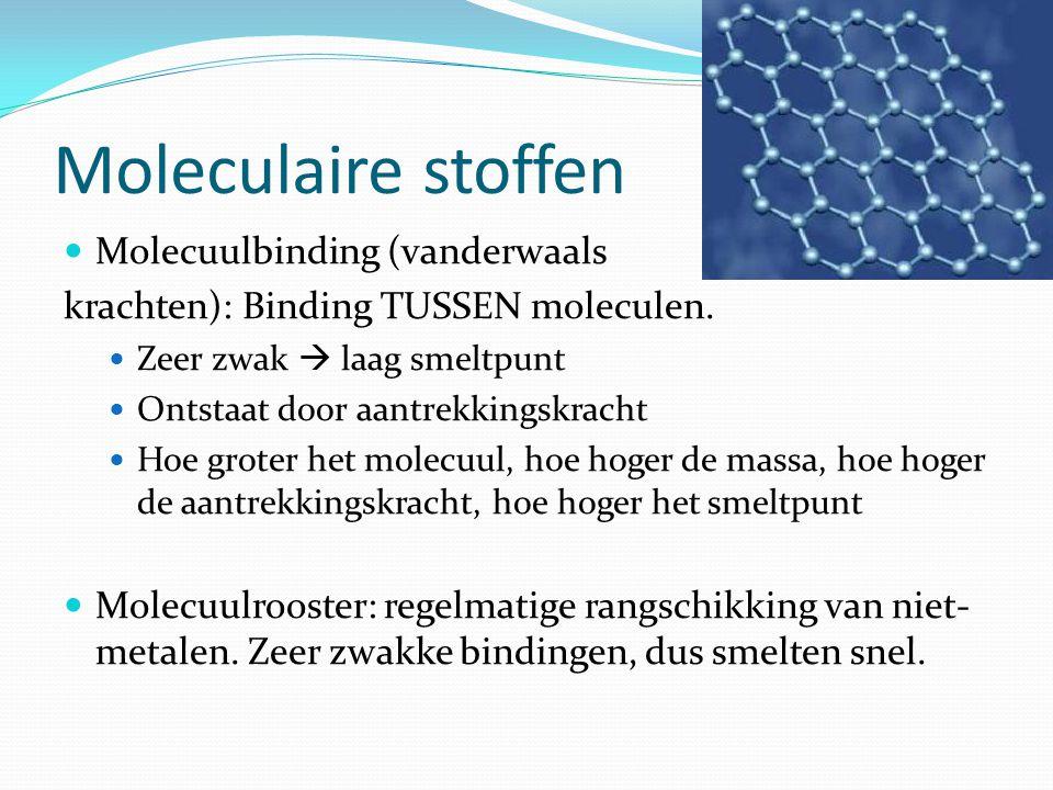 Moleculaire stoffen Molecuulbinding (vanderwaals krachten): Binding TUSSEN moleculen. Zeer zwak  laag smeltpunt Ontstaat door aantrekkingskracht Hoe