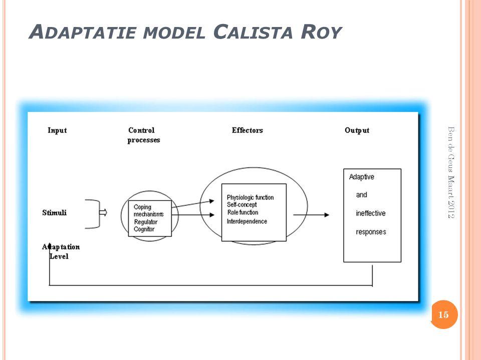 A DAPTATIE MODEL C ALISTA R OY 15 Ben de Geus Maart 2012