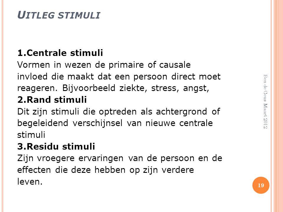 U ITLEG STIMULI 1.Centrale stimuli Vormen in wezen de primaire of causale invloed die maakt dat een persoon direct moet reageren. Bijvoorbeeld ziekte,