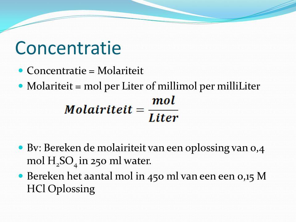 Concentratie Concentratie = Molariteit Molariteit = mol per Liter of millimol per milliLiter Bv: Bereken de molairiteit van een oplossing van 0,4 mol
