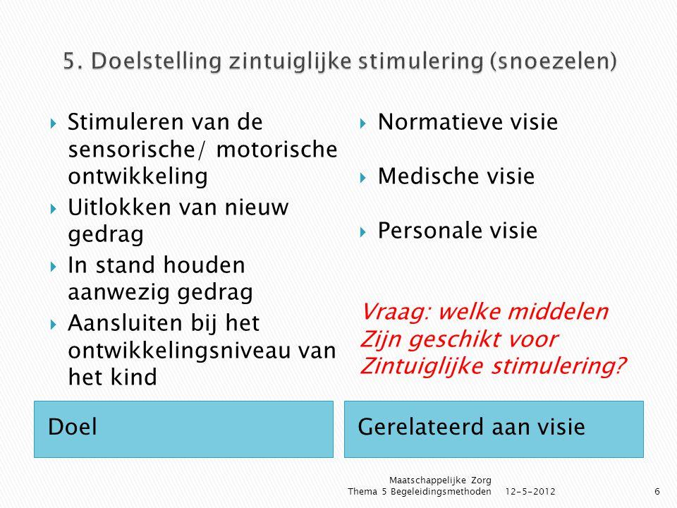 DoelGerelateerd aan visie  Stimuleren van de sensorische/ motorische ontwikkeling  Uitlokken van nieuw gedrag  In stand houden aanwezig gedrag  Aa