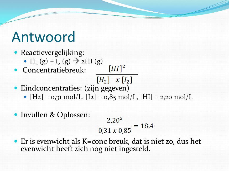 Antwoord Reactievergelijking: H 2 (g) + I 2 (g)  2HI (g) Concentratiebreuk: Eindconcentraties: (zijn gegeven) [H2] = 0,31 mol/L, [I2] = 0,85 mol/L, [