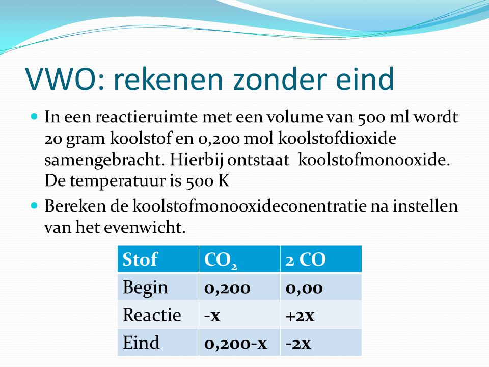 VWO: rekenen zonder eind In een reactieruimte met een volume van 500 ml wordt 20 gram koolstof en 0,200 mol koolstofdioxide samengebracht. Hierbij ont