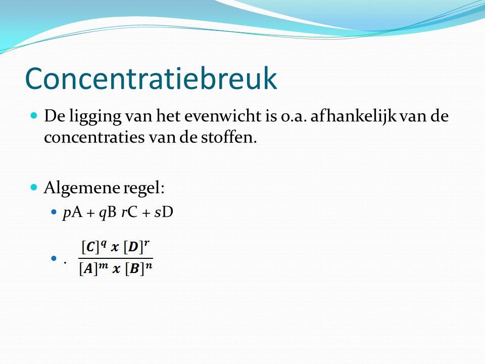 Antwoord Reactievergelijking: H 2 (g) + I 2 (g)  2HI (g) Concentratiebreuk: Eindconcentraties: (zijn gegeven) [H2] = 0,31 mol/L, [I2] = 0,85 mol/L, [HI] = 2,20 mol/L Invullen & Oplossen: Er is evenwicht als K=conc breuk, dat is niet zo, dus het evenwicht heeft zich nog niet ingesteld.