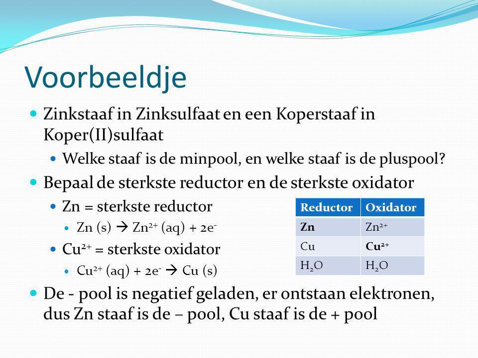 Voorbeeldje Zinkstaaf in Zinksulfaat en een Koperstaaf in Koper(II)sulfaat Welke staaf is de minpool, en welke staaf is de pluspool.