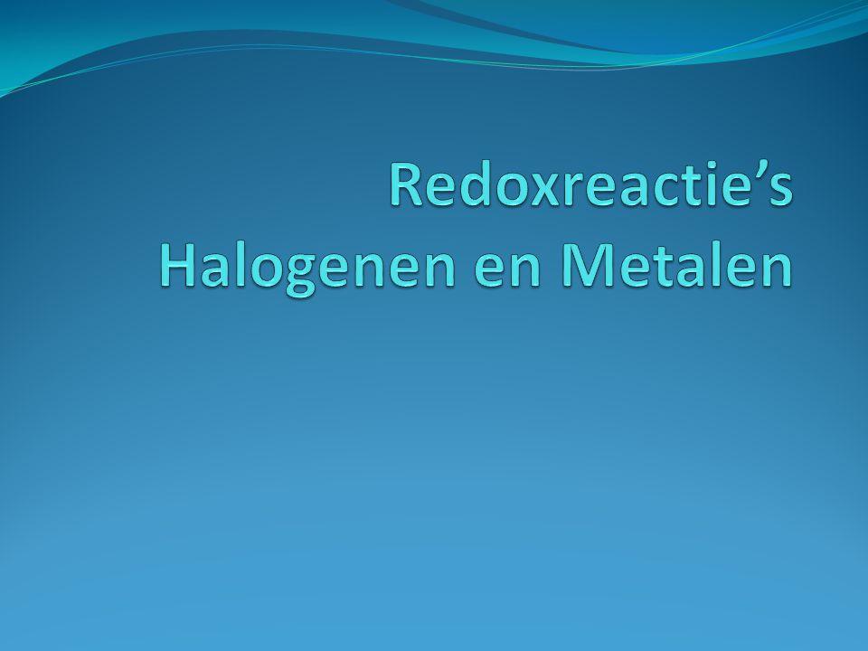 Redoxreactie Reactie met elektronen overdracht.