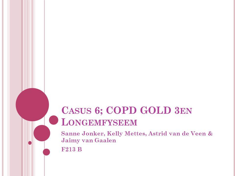 C ASUS 6; COPD GOLD 3 EN L ONGEMFYSEEM Sanne Jonker, Kelly Mettes, Astrid van de Veen & Jaimy van Gaalen F213 B