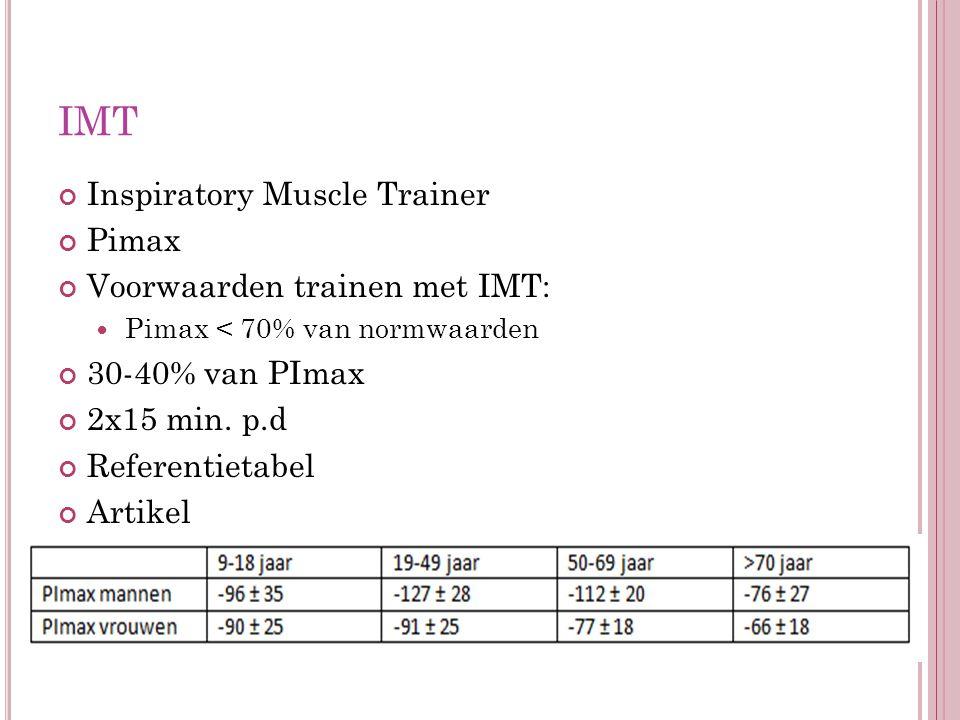 IMT Inspiratory Muscle Trainer Pimax Voorwaarden trainen met IMT: Pimax < 70% van normwaarden 30-40% van PImax 2x15 min. p.d Referentietabel Artikel
