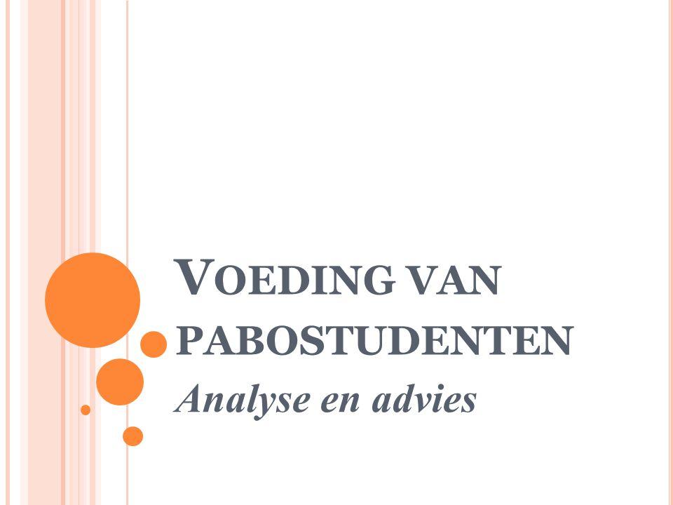 V OEDING VAN PABOSTUDENTEN Analyse en advies