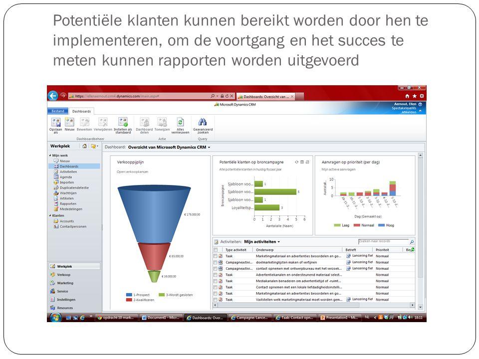 Potentiële klanten kunnen bereikt worden door hen te implementeren, om de voortgang en het succes te meten kunnen rapporten worden uitgevoerd